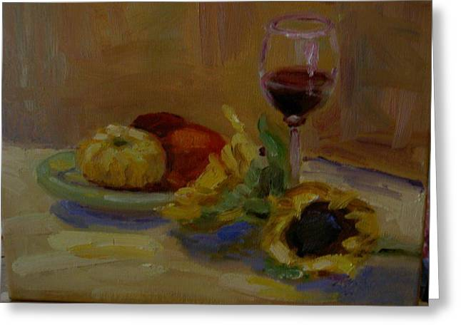 Sunflowers And Wine Greeting Card