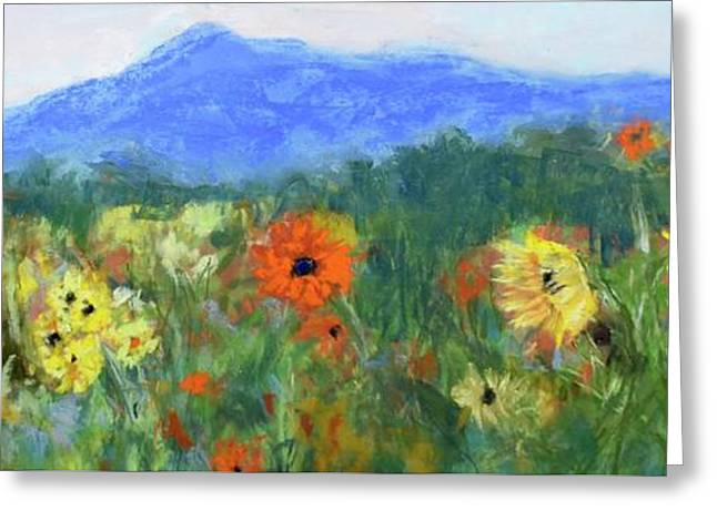 Sunflowers At Monadnock Greeting Card by Linda Dessaint