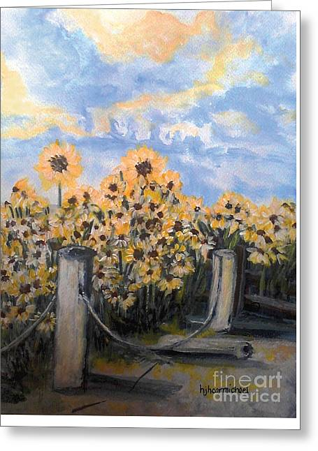Sunflowers At Rest Stop Near Great Sand Dunes Greeting Card