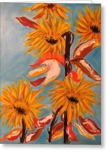 Sunflowers At Harvest Greeting Card