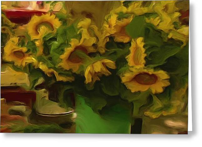 Greeting Card featuring the painting Sunflowers At The Market by Shelley Bain