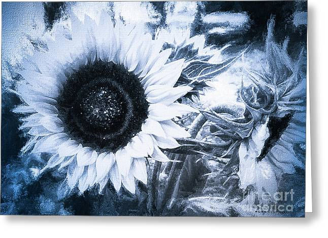 Yellow Sunflowers Flourish Visions Of Summer Bw Greeting Card