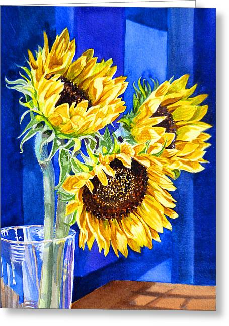Sunflowers Blues  Greeting Card by Irina Sztukowski