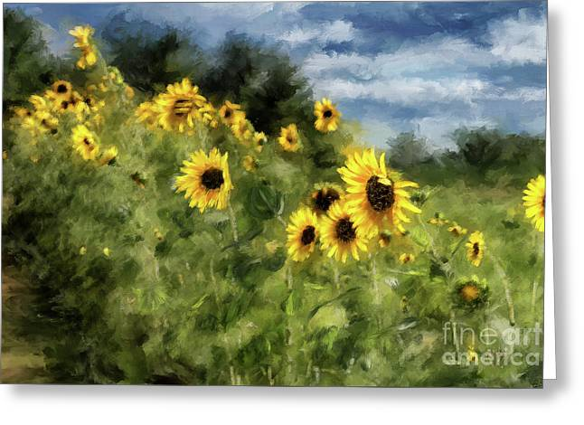 Sunflowers Bowing And Waving Greeting Card