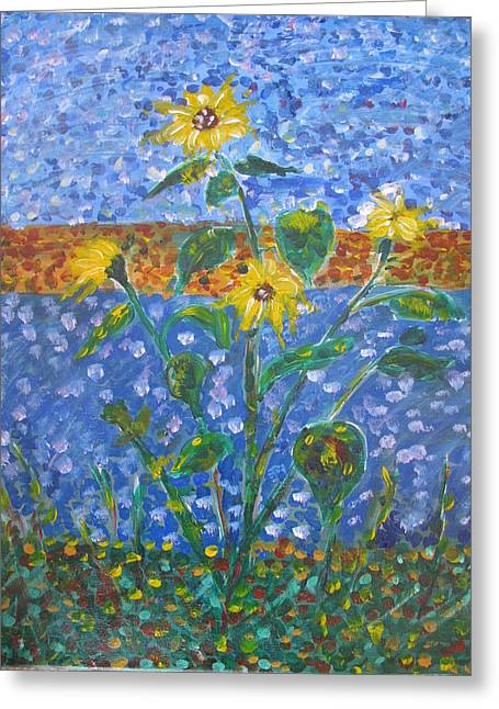 Sunflowers Bursting Greeting Card by Dennis Poyant