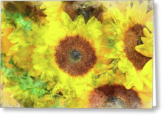 Sunflowers Close Up Greeting Card by Brandon Bourdages
