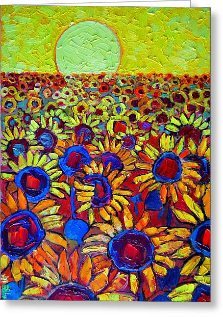 Sunflowers Field At Sunrise Greeting Card