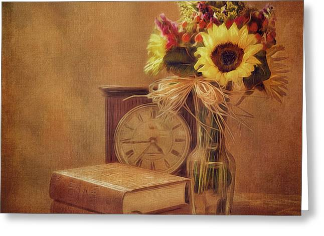Sunflowers Floral Still Life 6 Greeting Card by Anna Louise