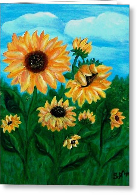 Greeting Card featuring the painting Sunflowers For Mom by Sonya Nancy Capling-Bacle