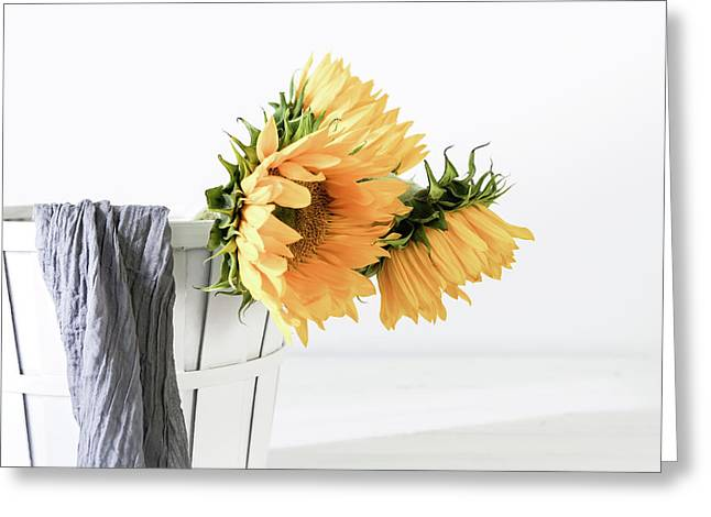Greeting Card featuring the photograph Sunflowers In A Basket by Kim Hojnacki