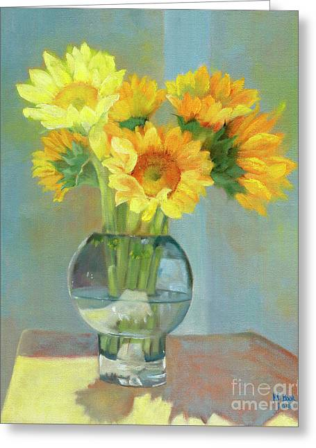 Greeting Card featuring the painting Sunflowers In A Glass Vase Number One by Marlene Book