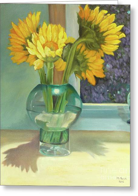 Greeting Card featuring the painting Sunflowers In A Glass Vase Number Three by Marlene Book