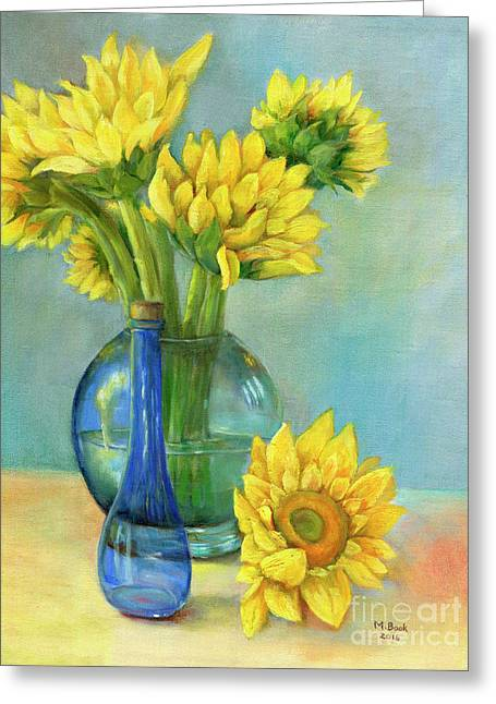 Greeting Card featuring the painting Sunflowers In A Glass Vase Number Two by Marlene Book