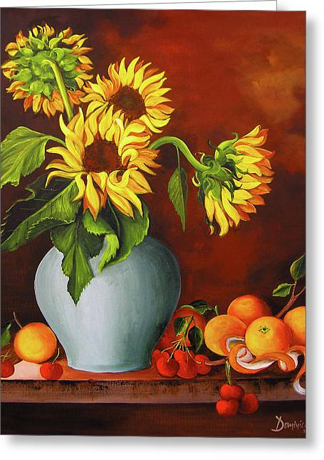 Sunflowers In A Vase Along With Oranges And Cherries Greeting Card