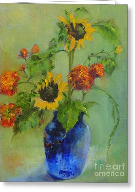 Sunflowers In Blue          Copyrighted Greeting Card by Kathleen Hoekstra