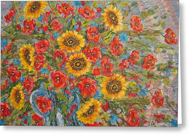 Sunflowers In Blue Pitcher. Greeting Card