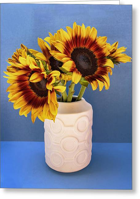 Sunflowers In Circle Vase Tournesols Greeting Card by William Dey
