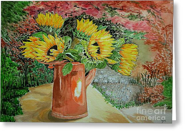 Sunflowers In Copper Greeting Card