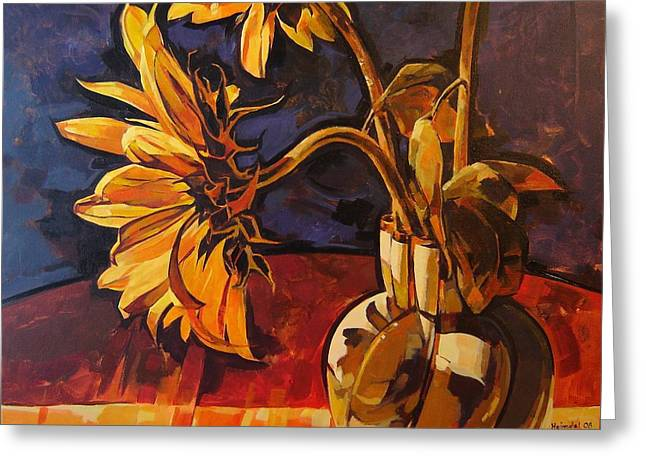 Greeting Card featuring the painting Sunflowers In Italian Vase Take Two by Tim  Heimdal