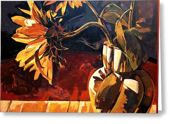 Greeting Card featuring the painting Sunflowers In Italian Vase by Tim  Heimdal