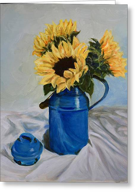 Sunflowers In Milkcan Greeting Card