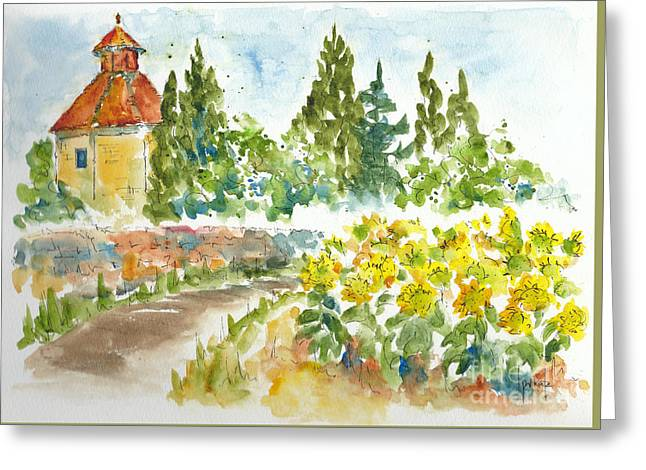 Sunflowers In Provence Greeting Card by Pat Katz