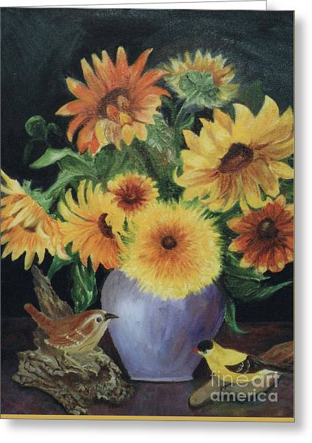 Sunflowers In Vase Greeting Card by Dorothy Weichenthal