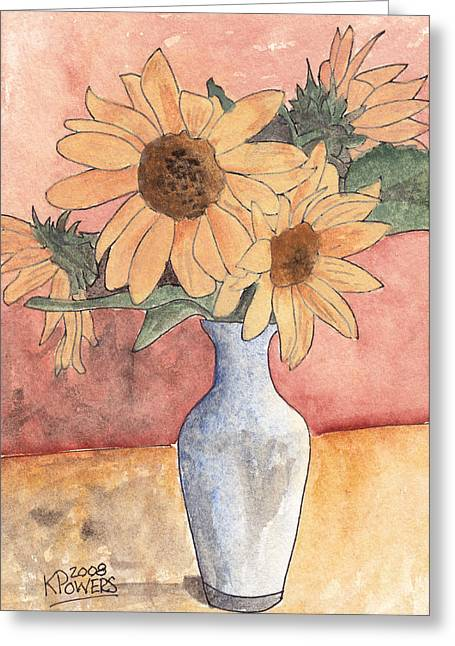 Sunflowers In Vase Sketch Greeting Card by Ken Powers