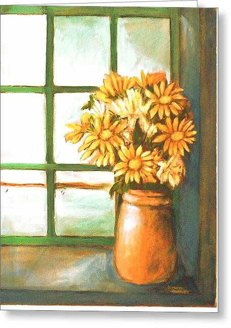 Greeting Card featuring the painting Sunflowers In Window by Winsome Gunning