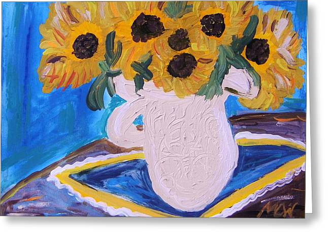 Sunflowers Ironstone And Lace Greeting Card