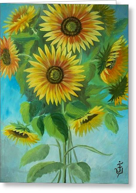 Sunflowers Greeting Card by Jose Velasquez