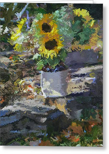 Sunflowers Greeting Card by Kenneth Young