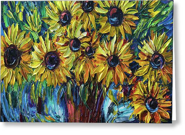Sunflowers In A Vase Palette Knife Painting Greeting Card