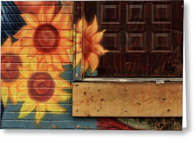 Sunflowers - Loading Dock Greeting Card by Nikolyn McDonald