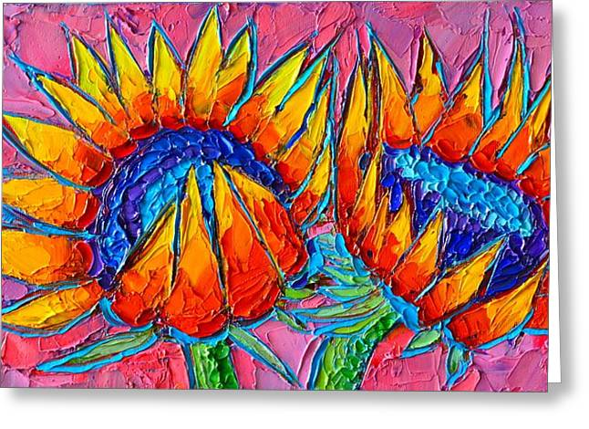 Sunflowers Love - Modern Colorful Floral Original Palette Knife Oil Painting By Ana Maria Edulescu Greeting Card