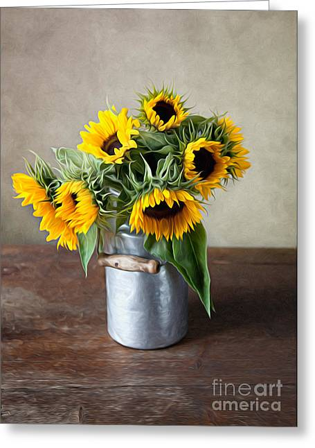 Sunflowers Greeting Cards - Sunflowers Greeting Card by Nailia Schwarz