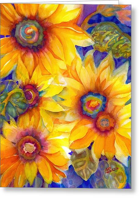 Sunflowers On Blue II Greeting Card