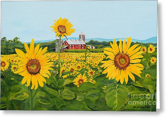 Sunflowers On Route 45 - Pennsylvania- Autumn Glow Greeting Card
