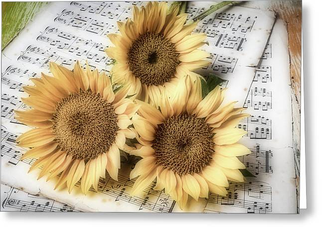 Sunflowers On Sheet Music Greeting Card