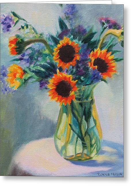 Sunflowers On The Porch Greeting Card by Bonnie Mason