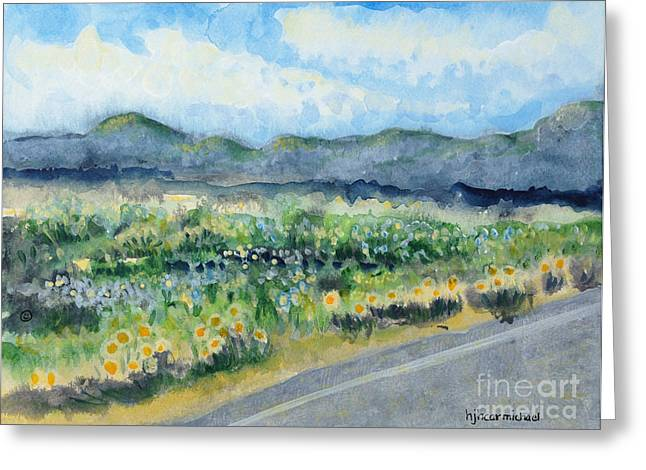 Sunflowers On The Way To The Great Sand Dunes Greeting Card by Holly Carmichael