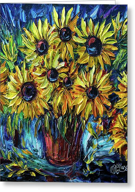 Sunflowers  Palette Knife Greeting Card