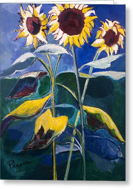 Greeting Card featuring the painting Sunflowers Standing Tall by Betty Pieper