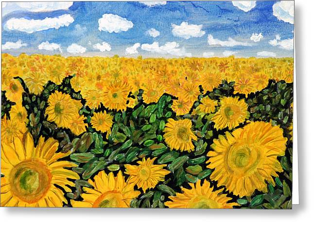 Sunflowers That Ate Manhattan Greeting Card by Michael Ledray