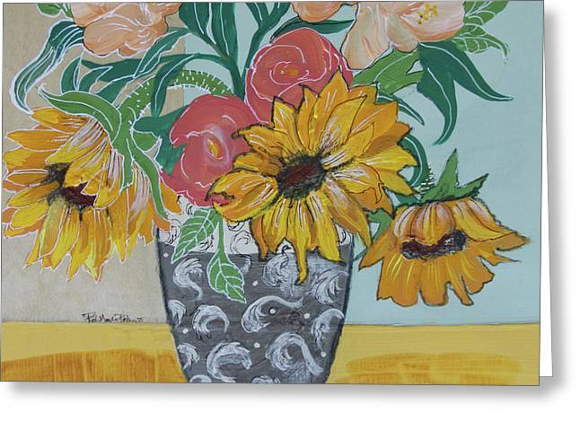 Greeting Card featuring the painting Sunflowers Three by Robin Maria Pedrero