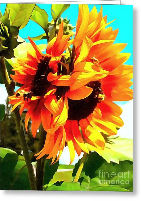 Greeting Card featuring the photograph Sunflowers - Twice As Nice by Janine Riley