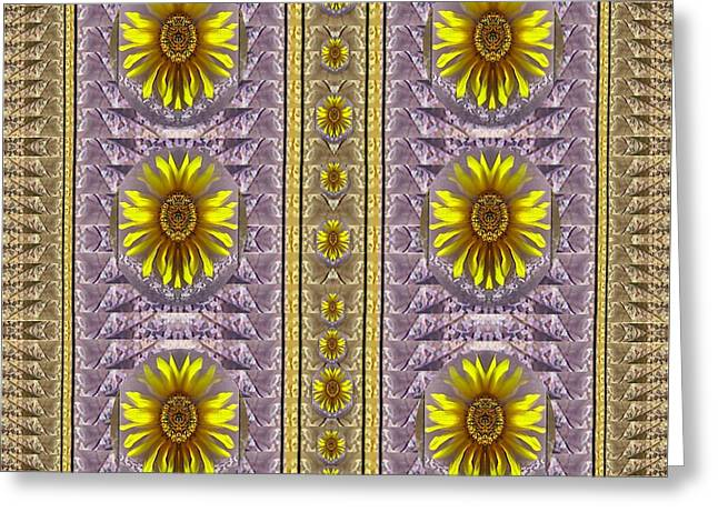 Sunflowers Vintage Lace In Joy And Harmonizing Greeting Card by Pepita Selles
