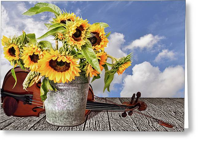 Sunflowers With Violin Greeting Card