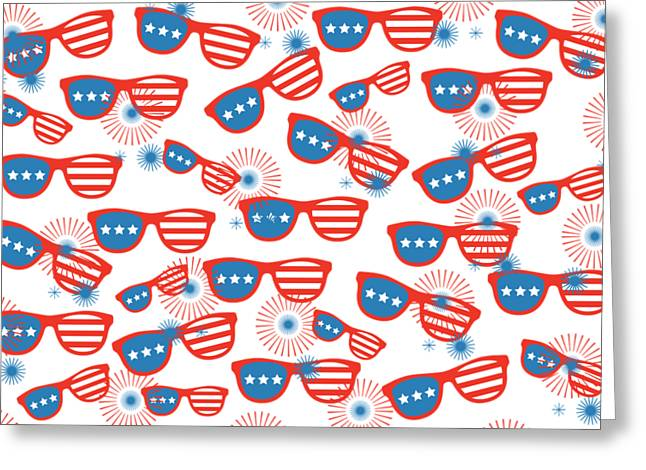 Sunglass Sparklers Celebration  Greeting Card by Chastity Hoff