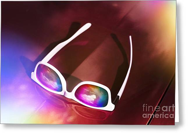 Sunglasses On Car Bonnet. 1980s Road Trip Greeting Card by Jorgo Photography - Wall Art Gallery